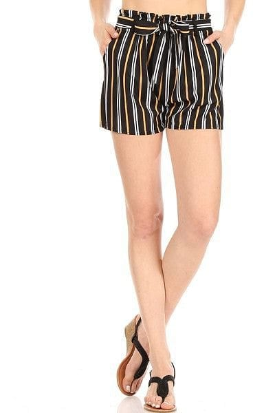 Yellow and White Striped Paperbag Shorts