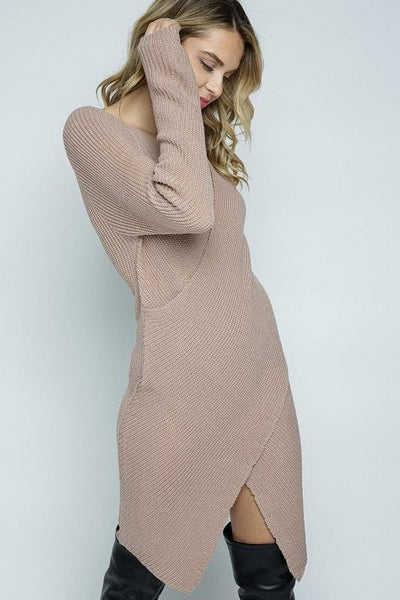 Surplice Sweater Dress