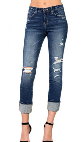 Mid-Rise Cropped Cuffed Straight Jeans