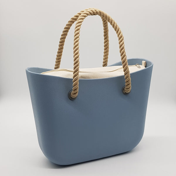 Corfu Bag - Sky Blue with Natural Canvas