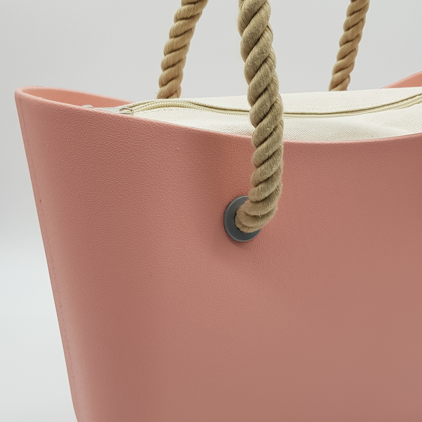 Corfu Bag - Pale Pink with Natural Canvas