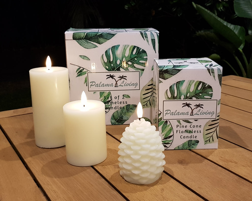 Combo Set of 2 Flameless Candles & Flameless Pine Cone Candle