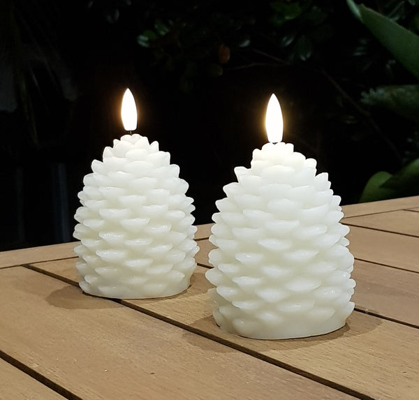 Ivory Flameless LED Pine Cone Candle with remote control