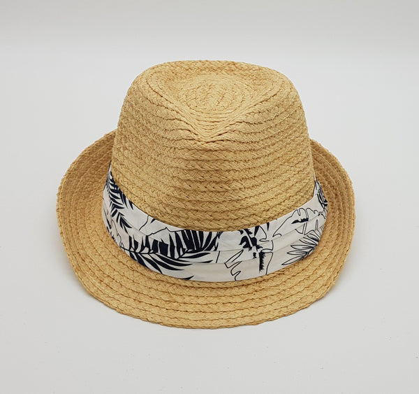 Montego Trilby Hat with Palm Tree Print Band