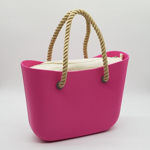 Corfu Bag - Hot Pink with Natural Canvas