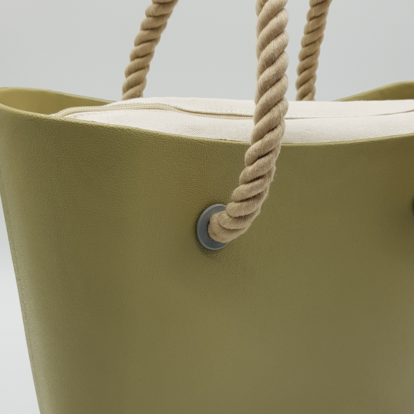 Corfu Bag - Khaki with Natural Canvas