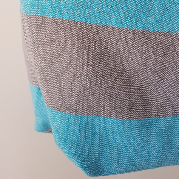 Bodrum Beach Bag - Turquoise & Grey