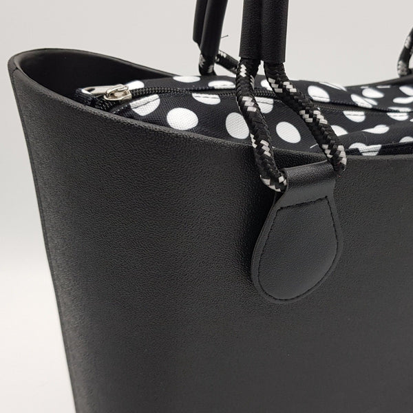 Corfu Bag - Black with Polka Dots