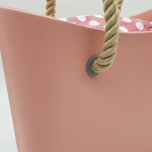 Corfu Bag - Pale Pink with Polka Dots