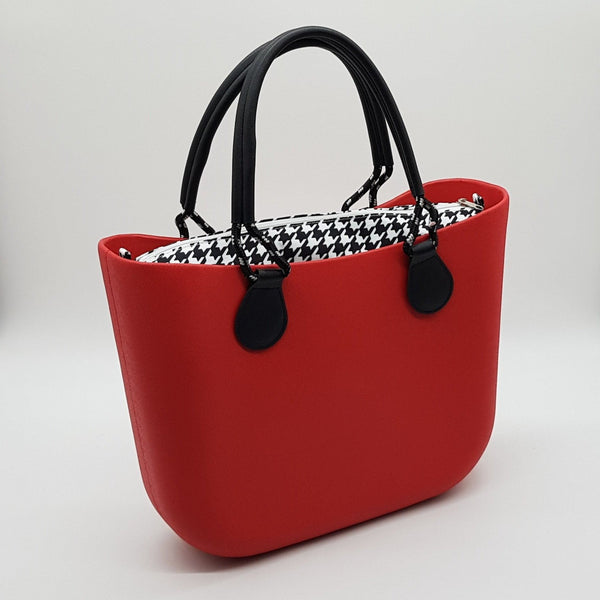 Corfu Bag - Red with Houndstooth