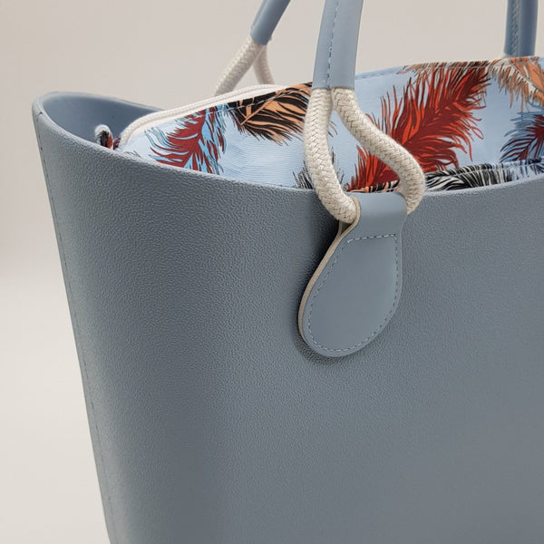 Corfu Bag - Sky Blue with Feathers