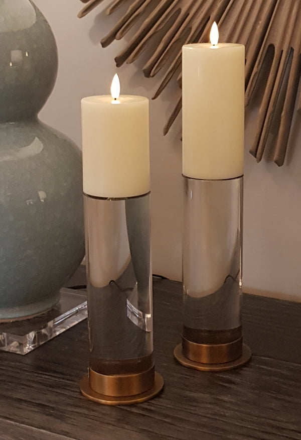 Combo Set of 2 x Sets of three Ivory Flameless LED Candles with remote