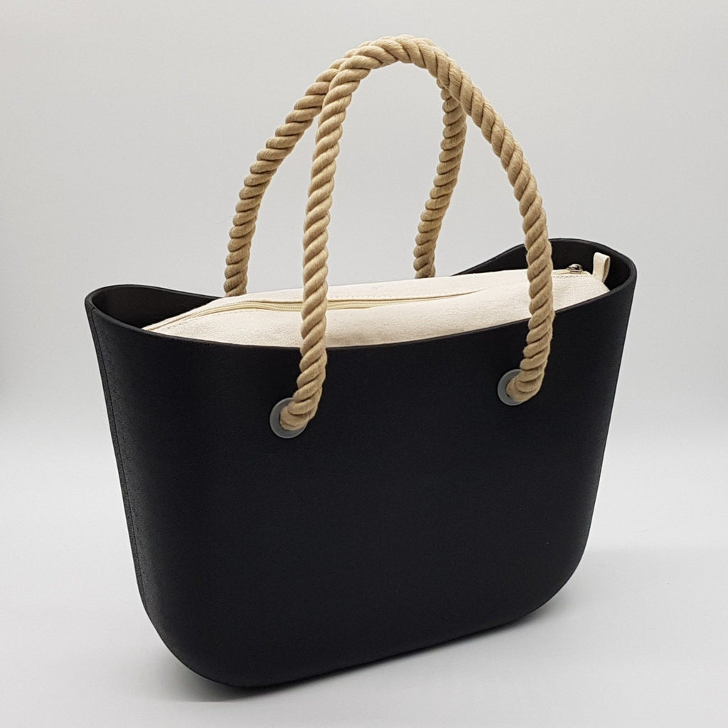 Corfu Bag - Black with Natural Canvas