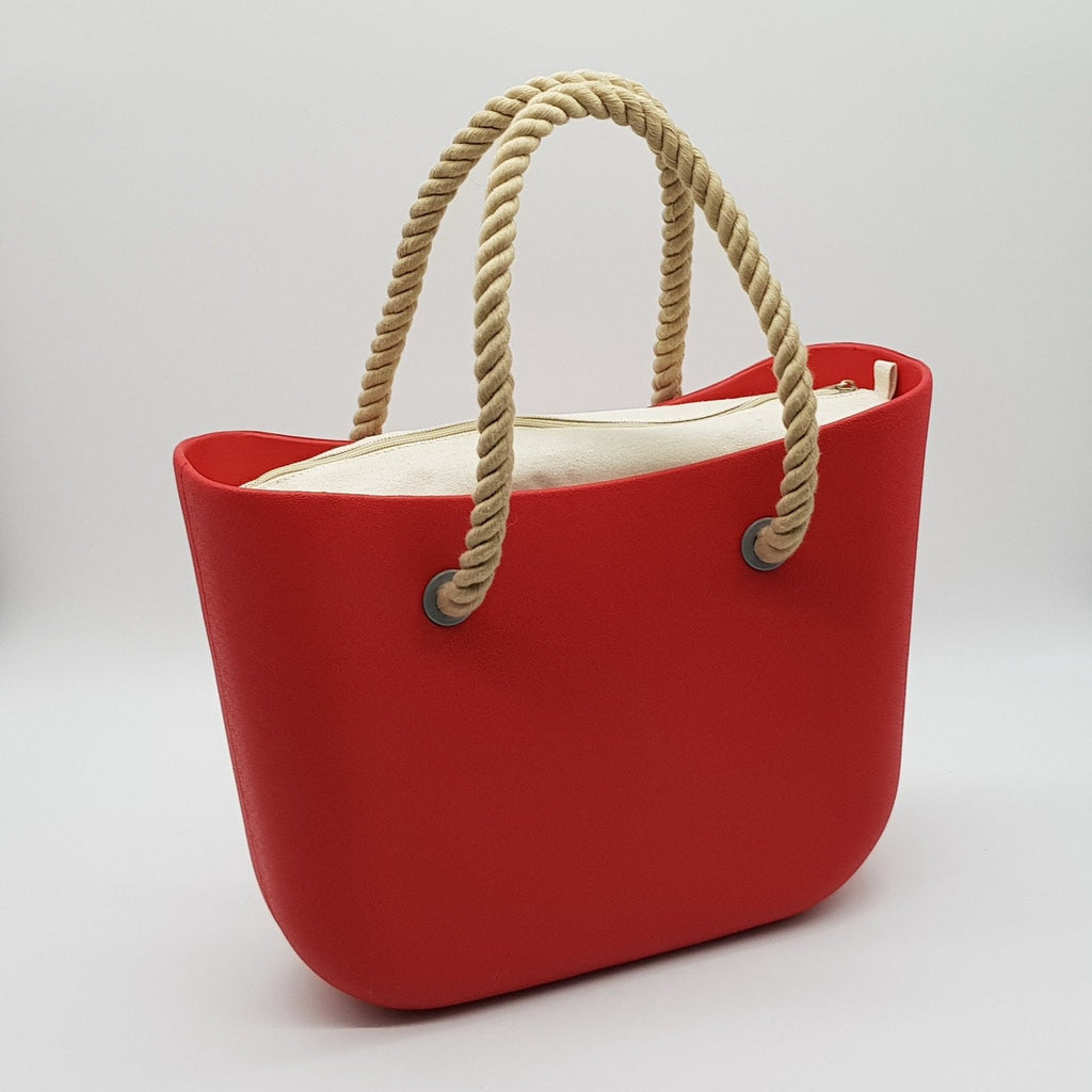 Corfu Bag - Tangerine with Natural Canvas