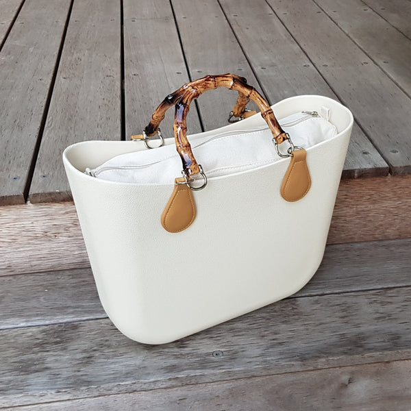 Corfu Bag - Antique White with bamboo handles