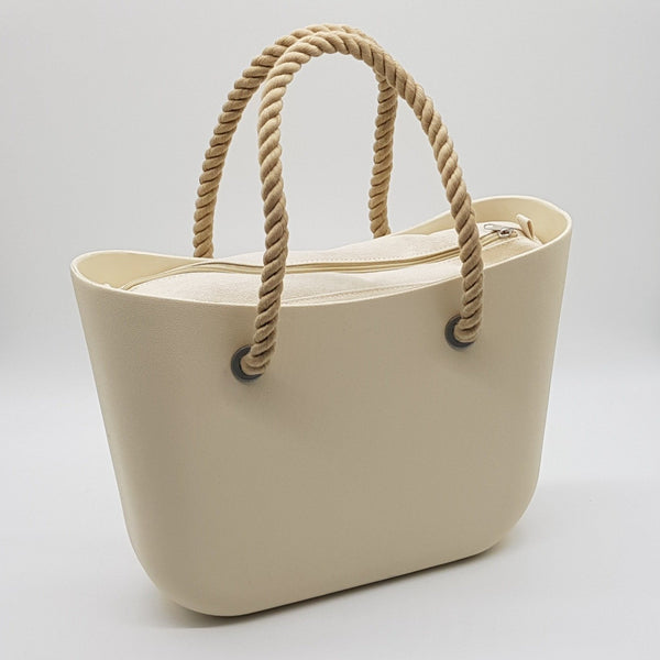 Corfu Bag - Antique White with Rope Handle