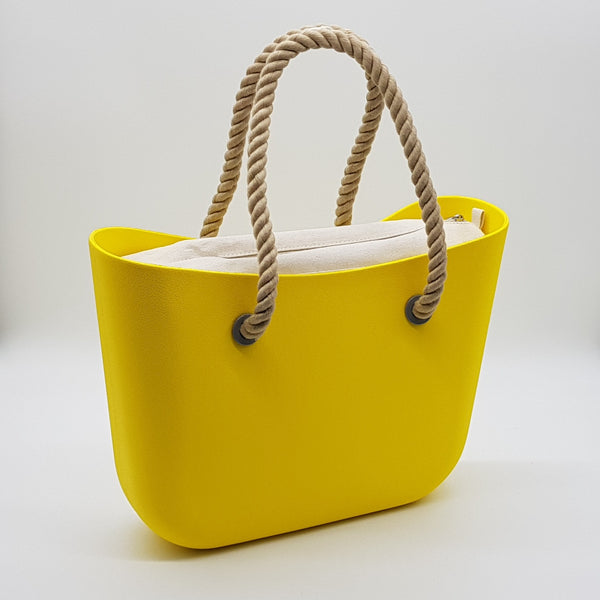 Corfu Bag - Yellow with Natural Canvas