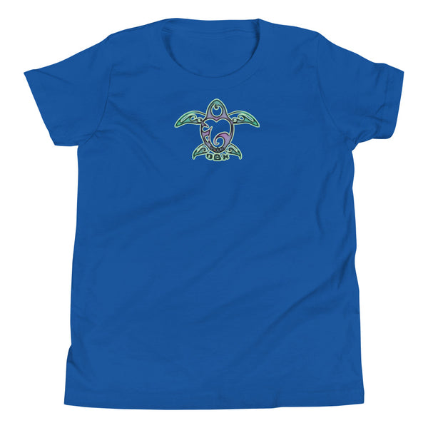 Youth Short Sleeve T-Shirt-OBX Tribal Sea Turtle Luv