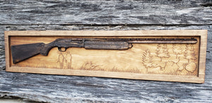 Shotgun With Turkey Scene (Two Stain Colors)
