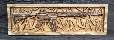 AR-15 Rifle With Bullet Background