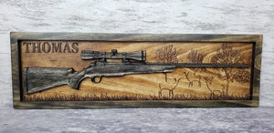 Hunting Rifle Deer Scene (Two Stain Colors)