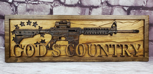 Betsy Ross Flag With AR-15 Rifle And God's Country