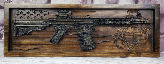 AR-15 Rifle With Distressed American Flag & Logo