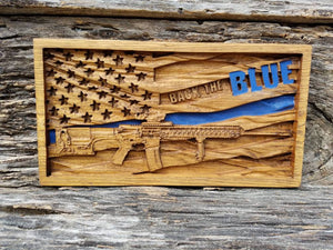 Back The Blue American Flag With AR-15 Rifle