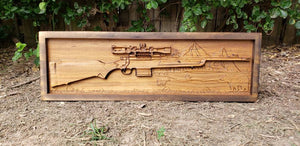 Hunting Rifle With Bear And Mountain Scene