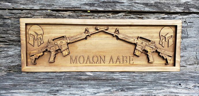 Two AR-15 Rifles Crossed With Molan Labe