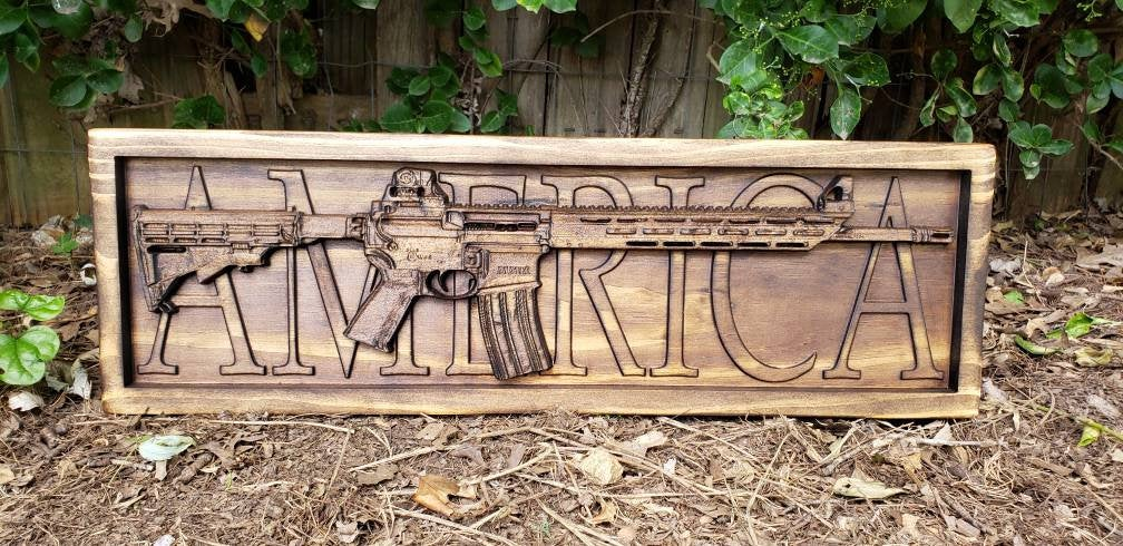 AR-15 Rifle With The Word America