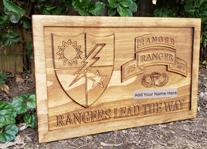 Customizable Army Rangers Sign