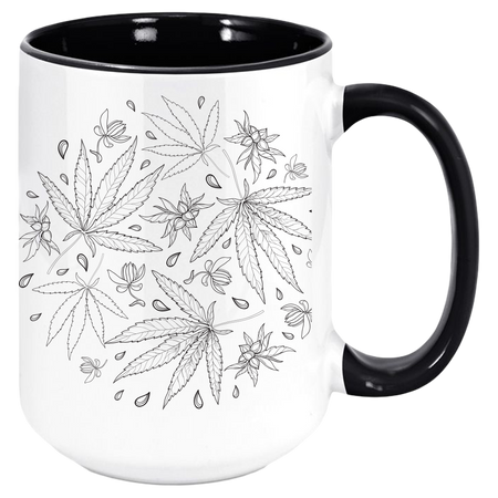 Weed Mug - Coffee Mug, White with Colored Inside and Handle