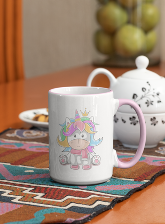 Cute Unicorn Coffee Mug, White with Colored Inside and Handle