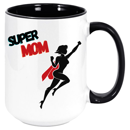 Super MOM Coffee Mug with Colored Inside and Handle