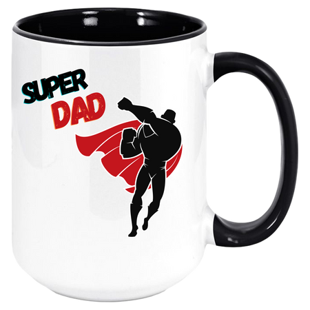Super DAD Coffee Mug with Colored Inside and Handle