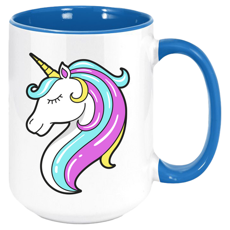 Unicorn Coffee Mug with Colored Inside and Handle