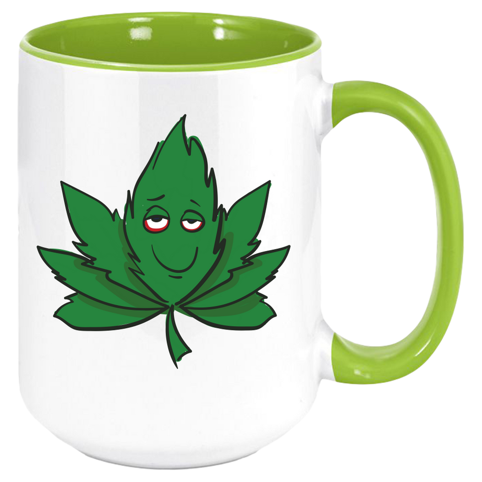 Weed Leaf Coffee Mug, White with Colored Inside and Handle