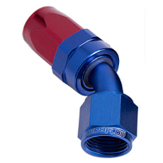 100 Series Taper 45° Swivel Hose End -6AN Blue/Red Finish. Suit 100 & 450 Series Hose