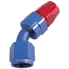 200 Series PTFE 45° Hose End -6AN Blue/Red Finish. Suits 200 & 250 Series Hose