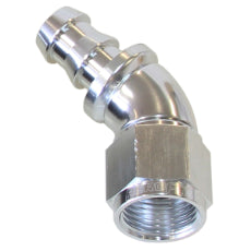 510 Series Full Flow Tight Radius Push Lock 45° Hose End -10AN Silver Finish. Suits 400 & 500 Series Hose