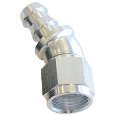 510 Series Full Flow Tight Radius Push Lock 30° Hose End -4AN Silver Finish. Suits 400 & 500 Series Hose
