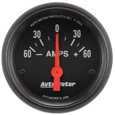 Z-Series Ammeter Gauge 2-1/16'', Short Sweep Electric, 60-0-60 amps