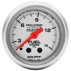 Ultra-Lite Series Fuel Pressure Gauge 2-1/16'', Full Sweep Mechanical, with Isolator, 0-15 psi