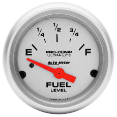 Ultra-Lite Series Fuel Level Gauge 2-1/16'', Short Sweep Electric, GM, 0 ohms Empty/90 ohms Full
