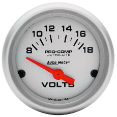 Ultra-Lite Series Voltmeter Gauge 2-1/16'', Short Sweep Electric, 8-18 volts