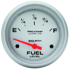 Ultra-Lite Series Fuel Level Gauge 2-5/8'', Short Sweep Electric, GM, 0 ohms Empty/90 ohms Full