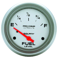 Ultra-Lite Series Fuel Level Gauge 2-5/8'', Short Sweep Electric, 240 ohms Empty/33 ohms Full