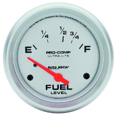 Ultra-Lite Series Fuel Level Gauge 2-5/8'', Short Sweep Electric, 16 ohms Empty/158 ohms Full