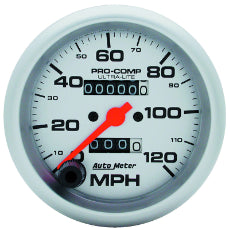 Ultra-Lite Series Speedometer 3-3/8'', In-Dash, Mechanical, 0-120 mph